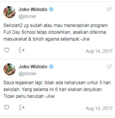 Jokowi Tegaskan Bahwa Penerapan PPK atau Full Day School (FDS) Tidak Wajib dan Harus Memenuhi 2 (Dua) Syarat Utama Jika Ingin Menerapkan Kebijakan Full Day School/ Program 5 (Lima) Hari Sekolah Dalam Sepekan