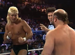 WCW Wrestlewar 1990 - Johnny Ace squares up against Buzz Sawyer