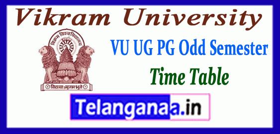 Vikram University ATKT 1st 3rd 5th UG PG Semester Time Table
