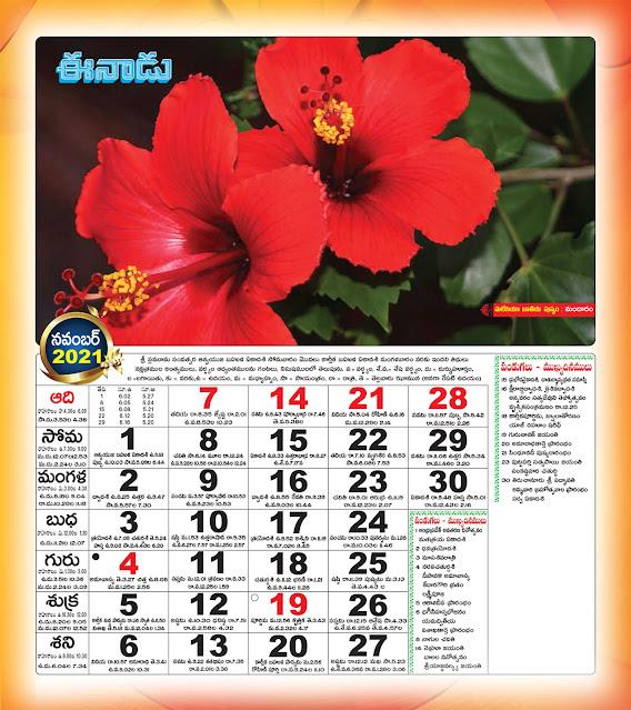 Eenadu Telugu Calendar November 2021