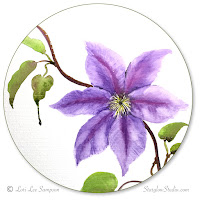 Clematis vine watercolor painting by me, Lori Lee Bowles Sampson, Starglow Studio.