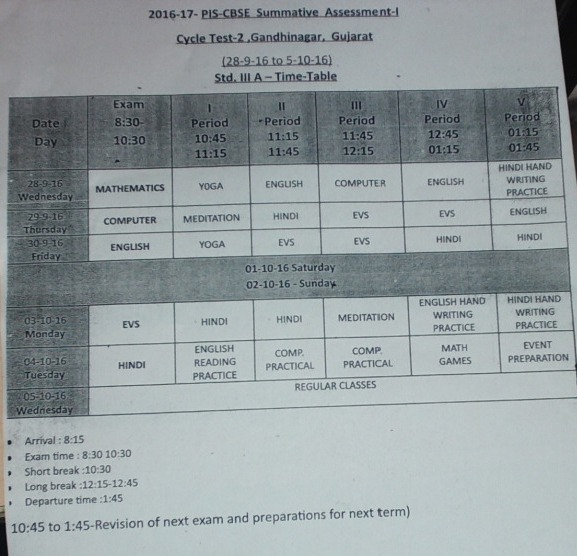 Grade 3 podar international school gandhinagar cycle for Html table class