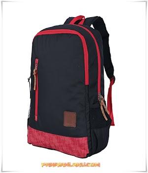 Tas Backpack Pria Hitam Kombinasi Laptop-In + Rain Cover