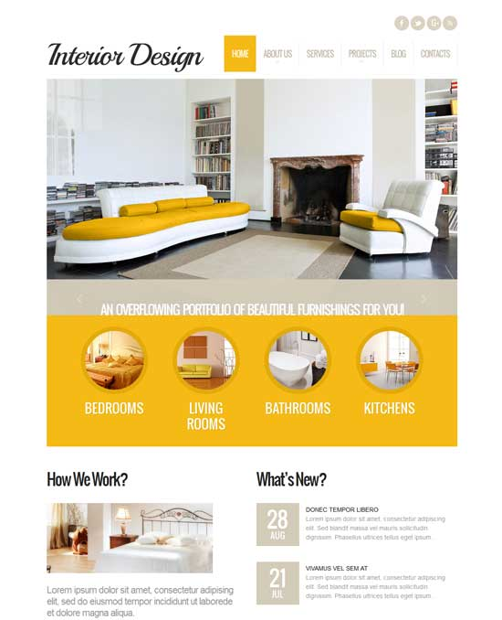Best interior design furniture website wordpress themes for Interior furniture website