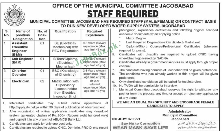 Municipal Committee Jacobabad Jobs 2021 in Pakistan