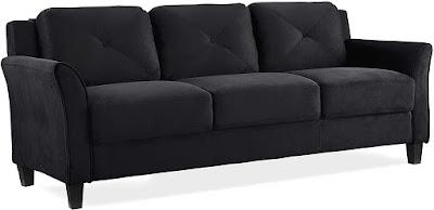 "Lifestyle Solutions Collection Grayson Micro-fabric SOFA, 80.3""x32""x32.68"", Black"