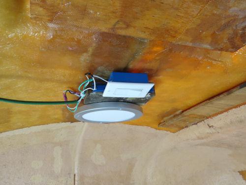 LED ceiling light in a fiberglass trailer