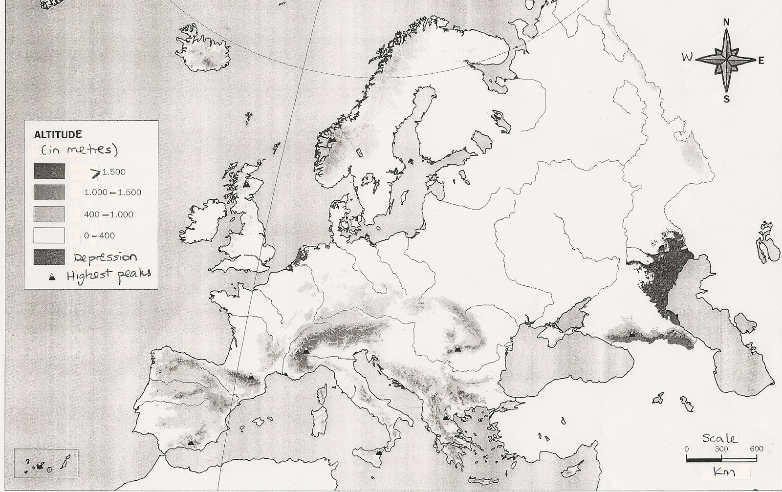 Blank Map Relief Europe