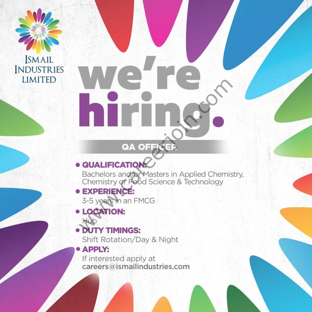 Ismail Industries Ltd Jobs QA Officer