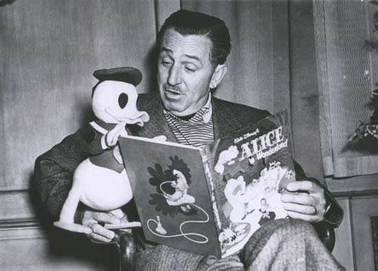 walt disney reading to Donald duck