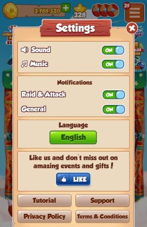 Coin Master settings for Sound Music Notifications and