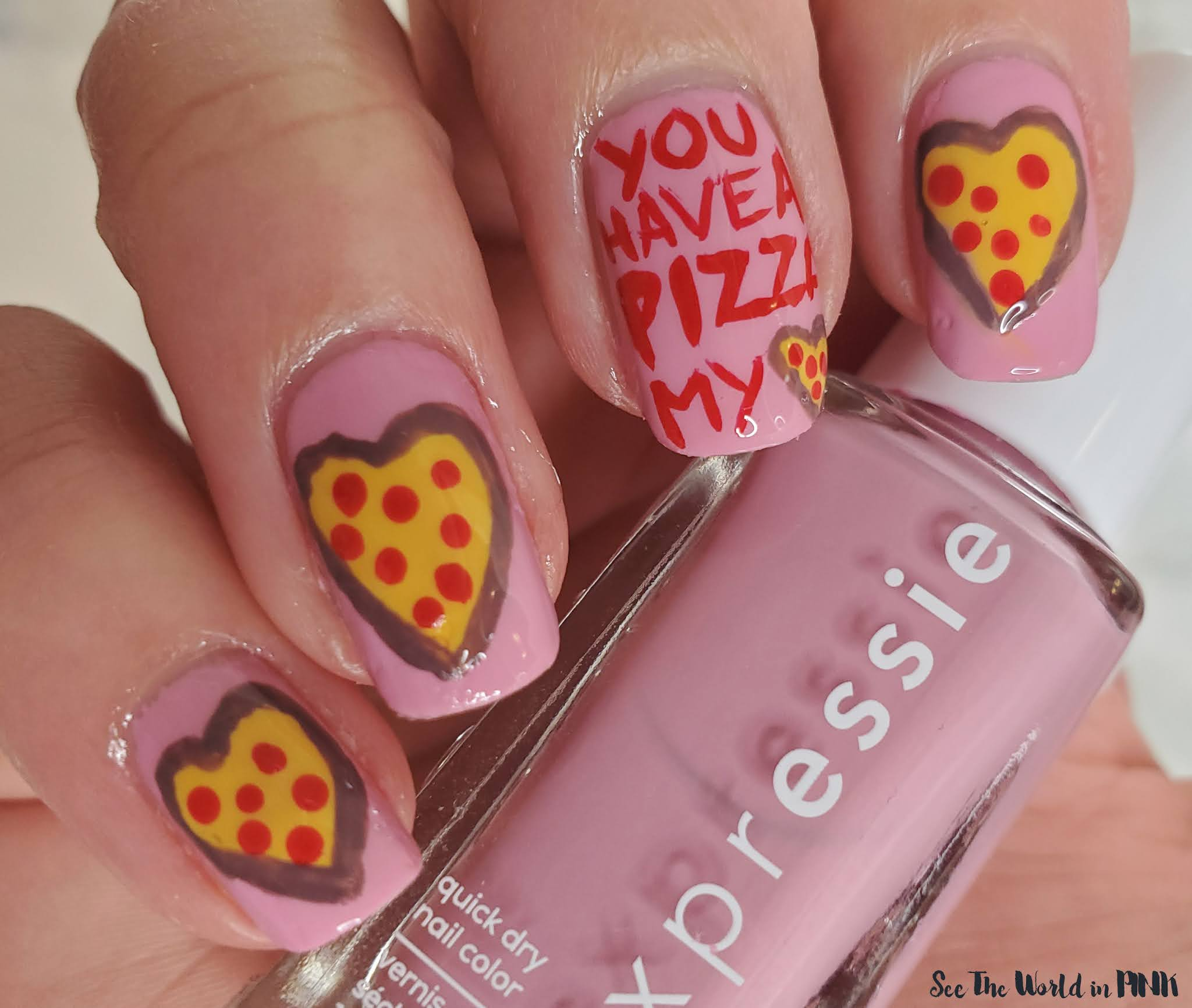 Manicure Monday - You Have A Pizza My Heart Nails