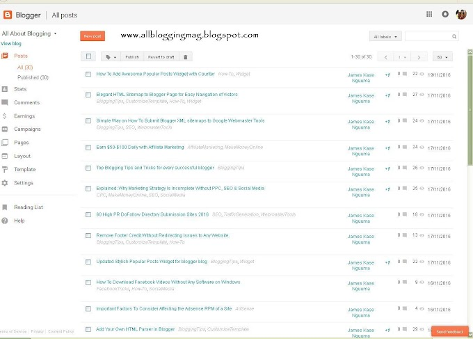 Blogger Has a New Dashboard in November, 2016 - Check out