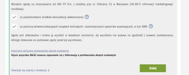 Zgody marketingowe wymagane we wniosku o IKZE w AXA TFI w promocji z premią 200 zł