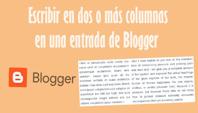 Escribir en dos o más columnas en una entrada de Blogger