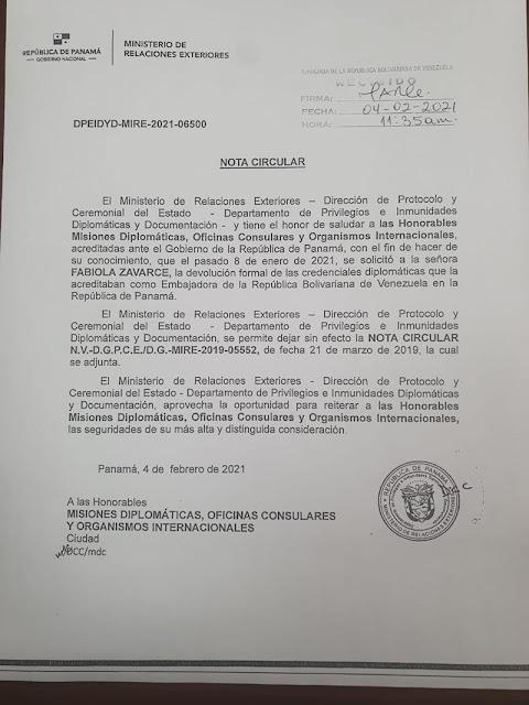 Panamá anuncia que ya no reconoce a la Embajadora de Guaidó en ese país