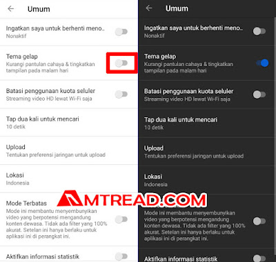 Tekan tombol tema gelap - dark mode youtube di hp android