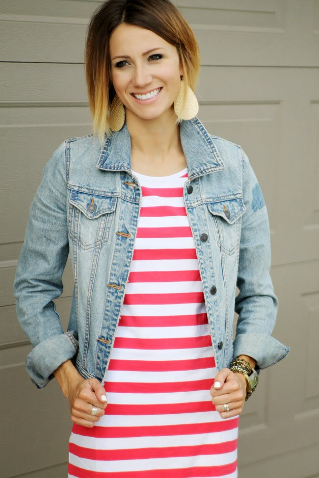 Red striped dress, denim jacket and platform sandals