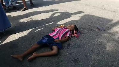 criança morta e cérebro espalhado no chão