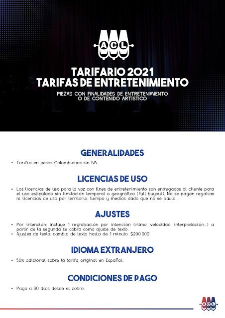 Tarifas de Locución Colombia Entretenimiento