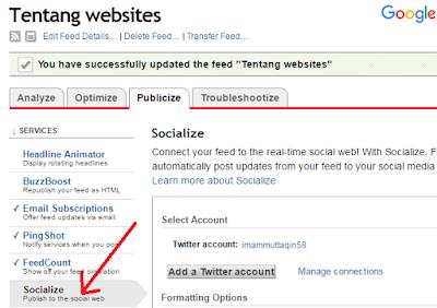 Cara menonaktifkan share otomatis artikel blog ke facebook, twitter dari feedburner