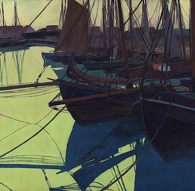 a Walter Leistikow painting of boats at a dock in greens