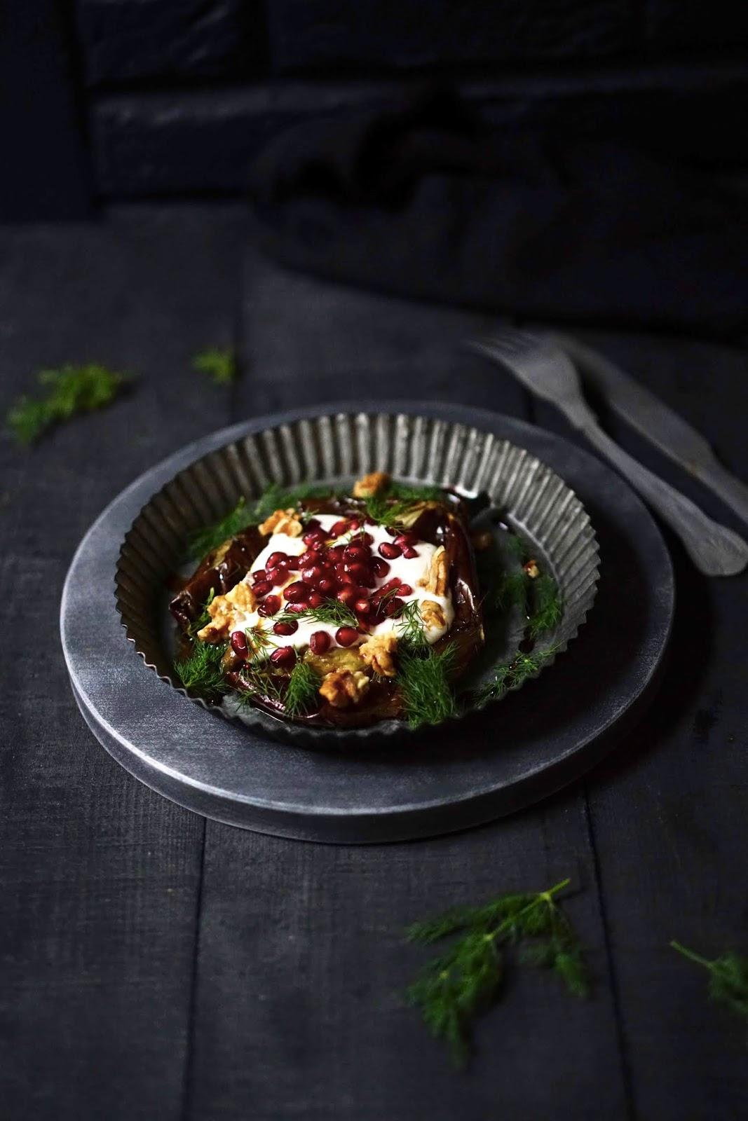 aubergines , recettes de vacance s, cuisine facile , grenade , tahini