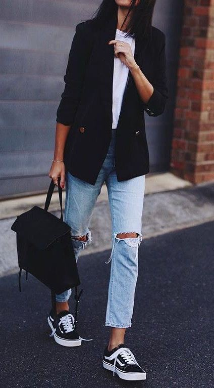 casual style addiction / sneakers + black blazer + bag + ripped jeans + white top