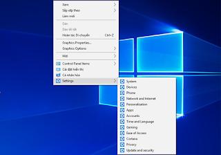 Thêm các chỉ mục Settings vào menu chuột phải ngoài desktop