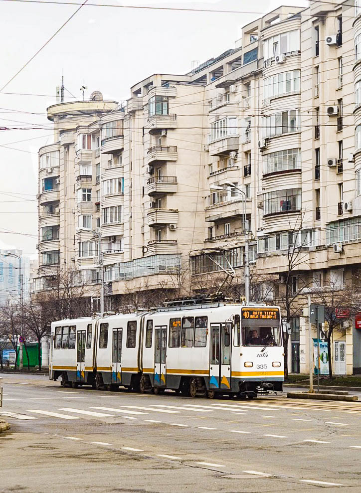 Tram running through Bucharest