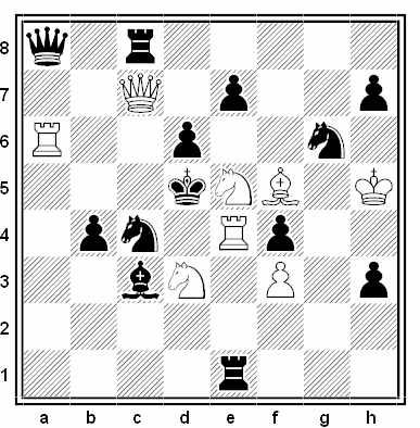 Problema de mate en 2 compuesto por Milan Velimirovic (2º Premio, Liga Problemista T.T. 2005)