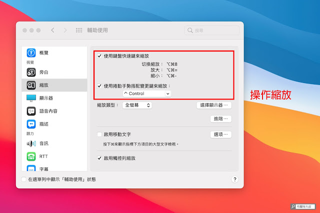 【MAC 幹大事】一秒放大螢幕,畫面內容不怕看嘸 - 可以選擇「快捷鍵」或「手勢」來操作縮放