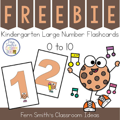 These FREE Large Kindergarten Number Flashcards, are PERFECT for your one on one number testing of students during your first few weeks of Kindergarten. This is a set of large number flashcards with the numbers 0 - 10 designed with a cute Smart Cookie theme. They are perfect to print on cardstock, 4 to a page, laminate and then use again and again each year. #FernSmithsClassroomIdeas
