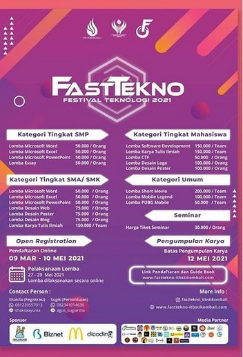 "Festival Teknologi STIKOM Bali (FASTTEKNO) 2021 ""Start the Journey with Creativity and Technology"""