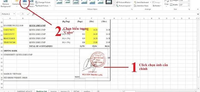 Chèn ảnh sau chữ trên Excel