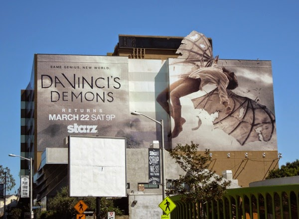 Da Vinci's Demons season 2 winged extension billboard Sunset Strip