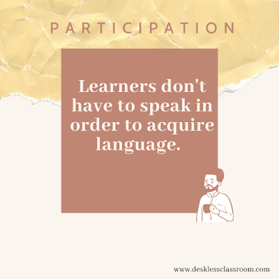 Text reads: PARTICIPATION: Learners don't have to speak in order to acquire language. There is an image of a black man with a beard holding coffee, in terracotta, yellow, and beige.