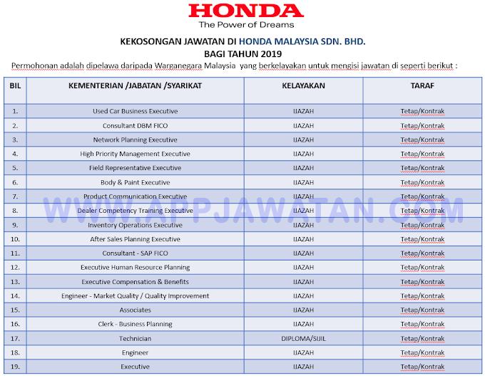 Jawatan Kosong Terkini di Honda Malaysia Sdn. Bhd.