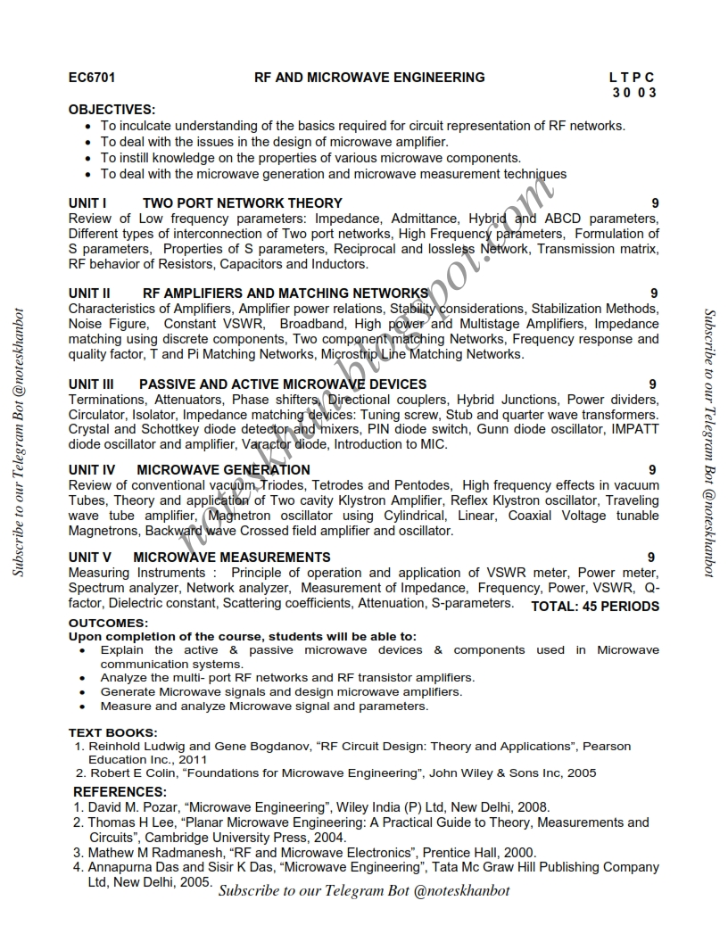 Ec6701 Rf And Microwave Engineering Syllabus Semester Vii Ece Be Anna University Regulation 2013 Anna University Syllabus Regulation 2013 B E B Tech M E M Tech