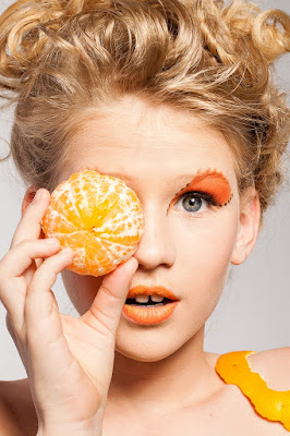 makeup face-pack girl with orange