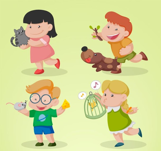 Cartoon Happy Children And Small Animals Free Vector