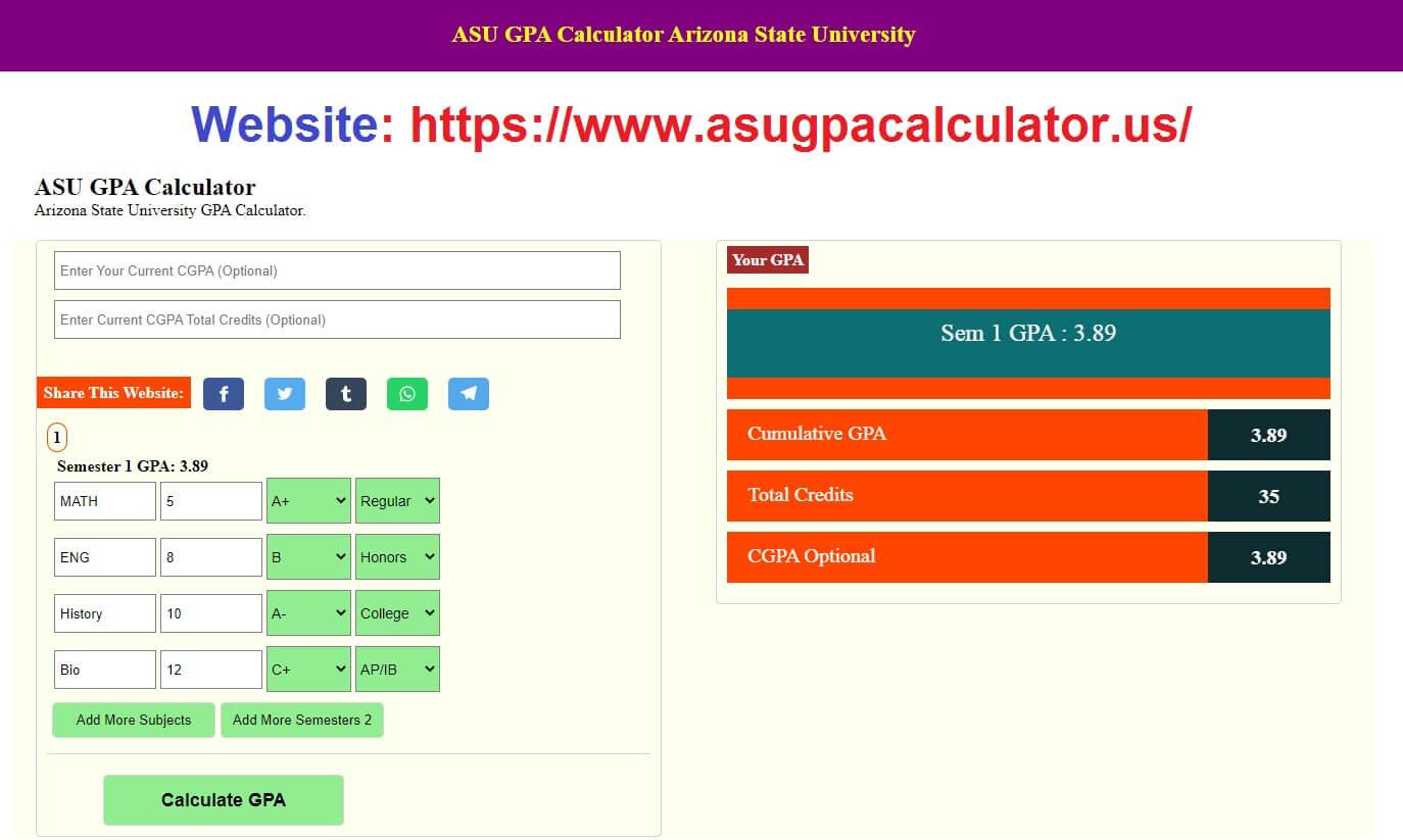 ASU GPA Calculator