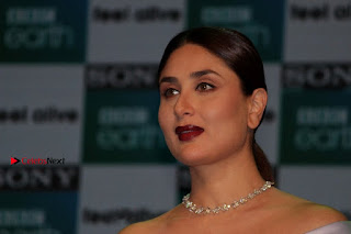 Bollywood Actress Kareena Kapoor Stills in Beautiful Silk Long Dress at Sony BBC Earth New Channel Launch  0022.jpg