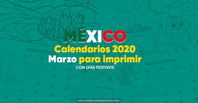 Calendarios marzo 2020 para imprimir de México en PDF