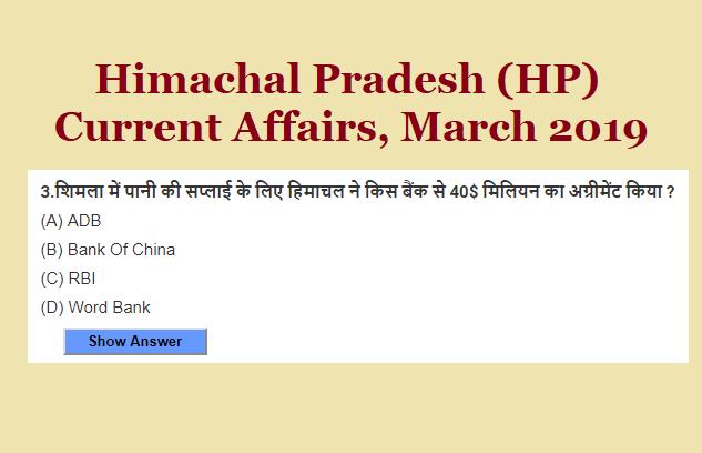 Himachal Pradesh (HP) Current Affairs, March 2019