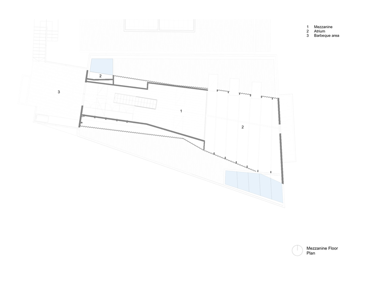 Mezzanine floor plan of Lavender Bay Boatshed by Stephen Collier Architects