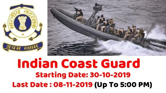 Indian Coast Guard Recruitment for Navik DB 01/2020 Batch