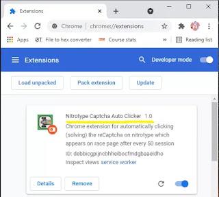 Nitrotype captcha clicker extension Chrome