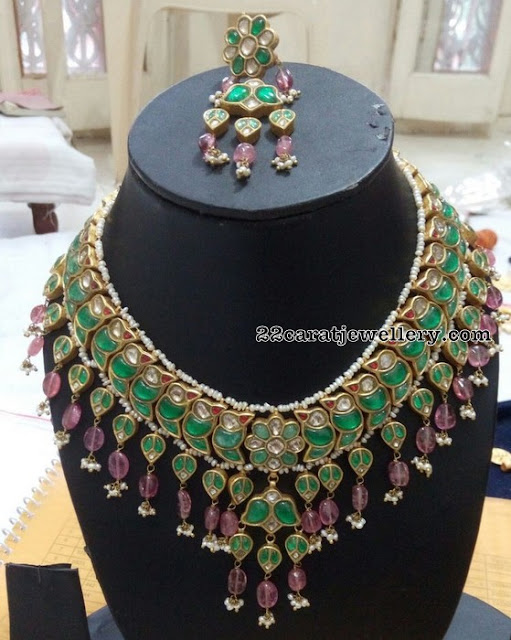 Kundan Polki Emerald Set Purple Drops