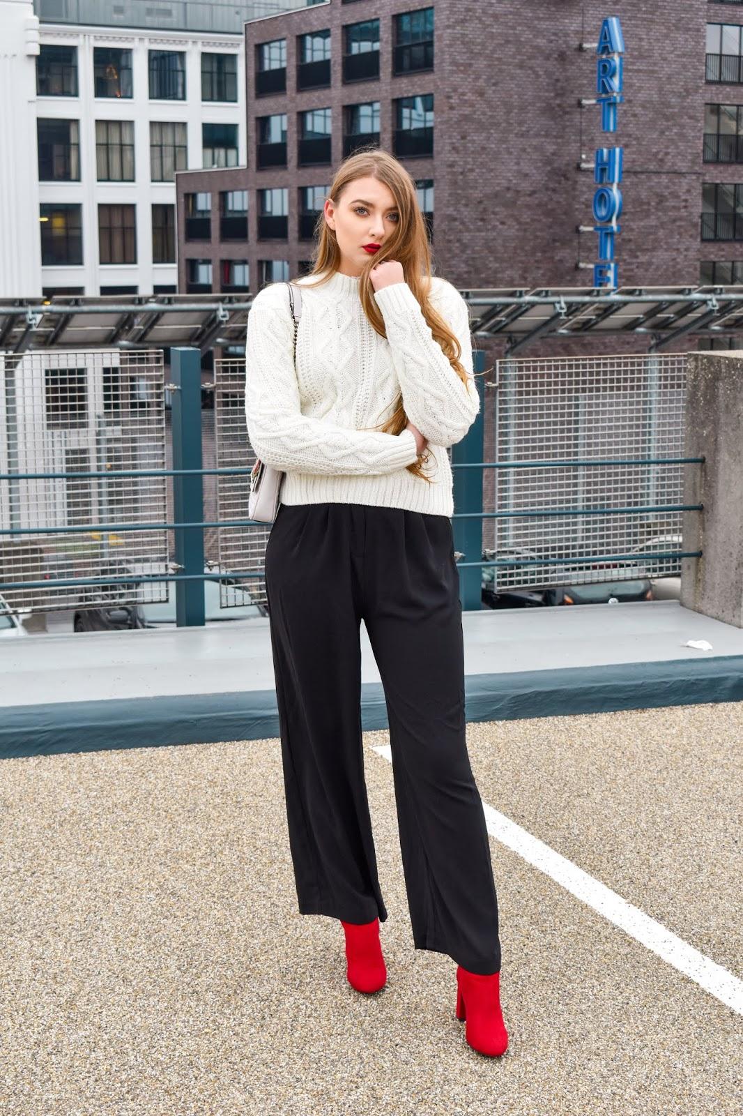 elegancka stylizacja ze swetrem